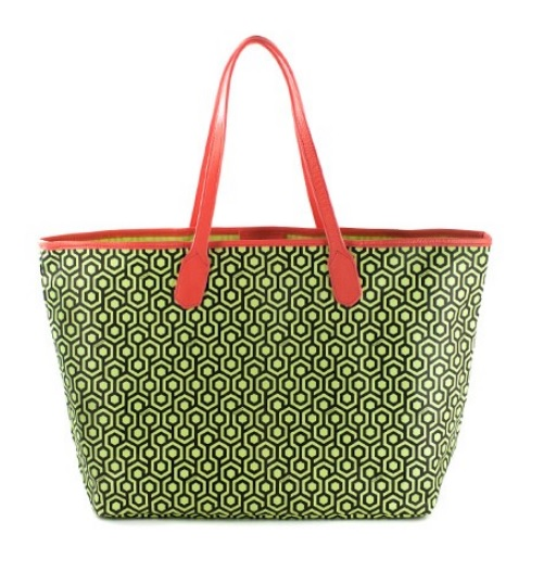 MISCHA - Jet Set Tote in Lime Green and Coral