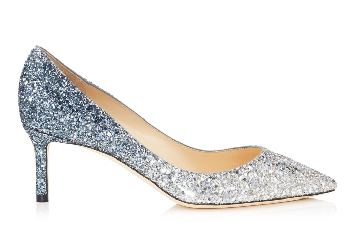 jimmy choo - silver and dusk blue fireball glitter